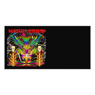 Mardi Gras Witch Doctor-Skull V-3-T Personalized Photo Card