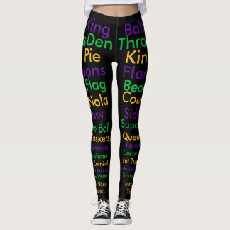 Mardi Gras Words Leggings