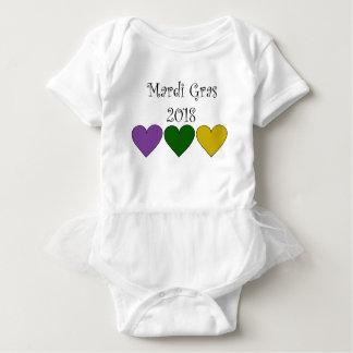 MardiGrasPurpleGreenGoldHearts Baby Bodysuit