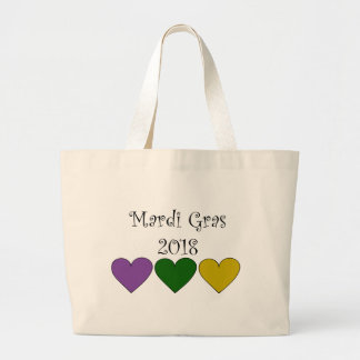 MardiGrasPurpleGreenGoldHearts Large Tote Bag