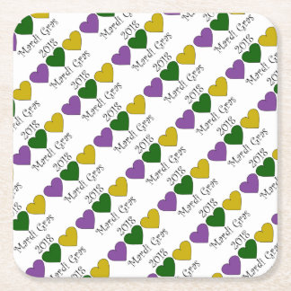 MardiGrasPurpleGreenGoldHearts Square Paper Coaster