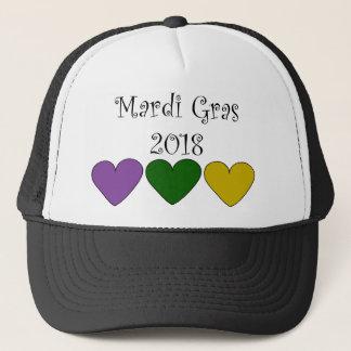 MardiGrasPurpleGreenGoldHearts Trucker Hat