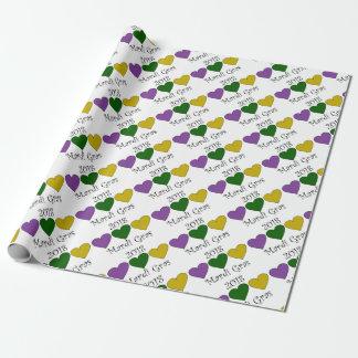 MardiGrasPurpleGreenGoldHearts Wrapping Paper