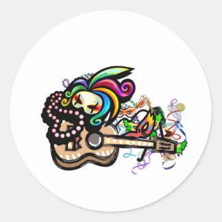 Mardis Gras Ukulele Round Sticker