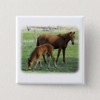 Mare and Foal 9P30D-175 15 Cm Square Badge