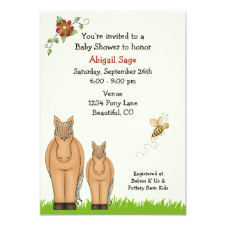 """Mare and Foal Baby Shower Invitation for Girls 5"""" X 7"""" Invitation Card"""