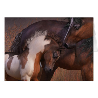 Mare and Foal Blank Greeting Card