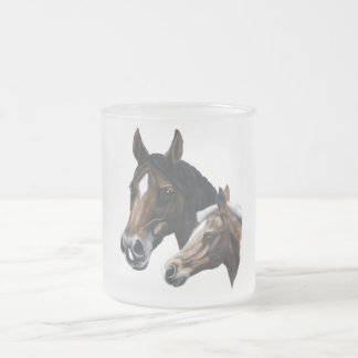 mare and foal frosted glass coffee mug