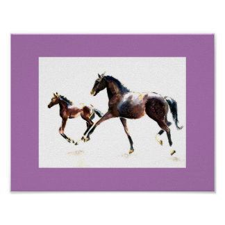 Mare and Foal Galloping Poster