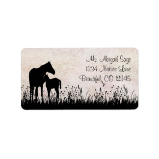 Mare and Foal Horse Address Label