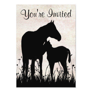 """Mare and Foal Horse Baby Shower Invitation 5"""" X 7"""" Invitation Card"""