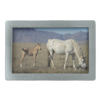 Mare and Foal (Horses) Rectangular Belt Buckle