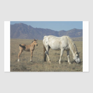 Mare and Foal (Horses) Rectangular Sticker