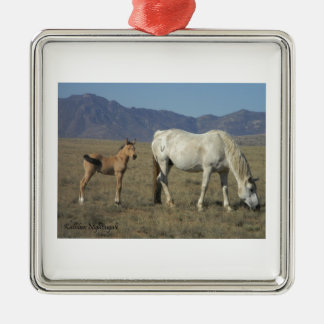 Mare and Foal (Horses) Silver-Colored Square Decoration