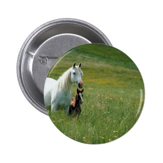 Mare and Foal in Tall Grass 6 Cm Round Badge