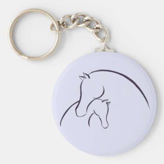 MARE AND FOAL LINE ART DESIGN KEY CHAIN