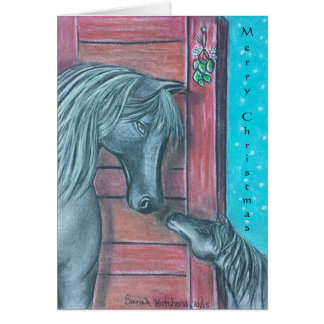 Mare and foal mistletoe moment Christmas cards