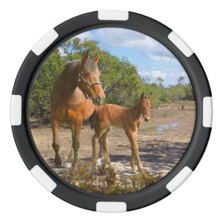 Mare and foal poker chips set