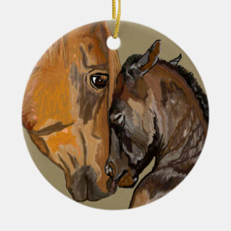 Mare and Foal Round Ceramic Decoration