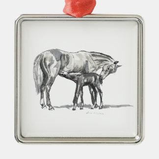 Mare and Foal Silver-Colored Square Decoration