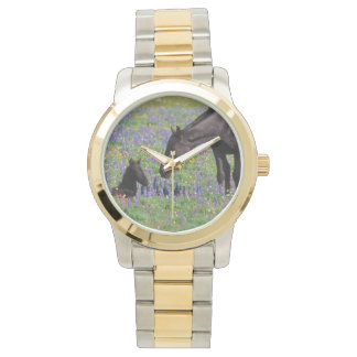 Mare and Foal with Bluebonnets Watch Face