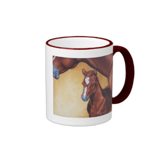 Mare & Foal Ringer Coffee Mug