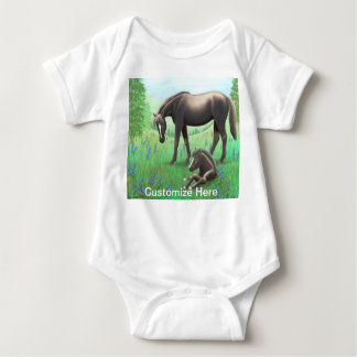 Mare with Foal Customizable Babie One Piece Baby Bodysuit