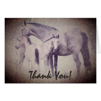 Mare with Twin Foals in Snow Horse Thank You Card