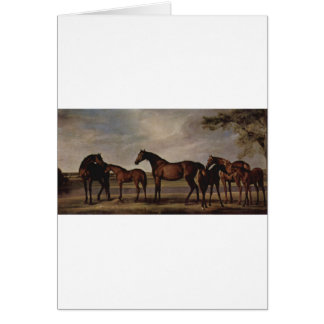 Mares and foals are anxious before a looming storm greeting card