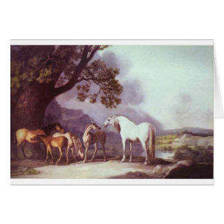Mares and Foals in a Mountainous Landscape Greeting Card