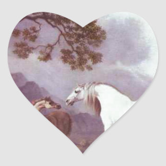 Mares and Foals in a Mountainous Landscape Heart Sticker