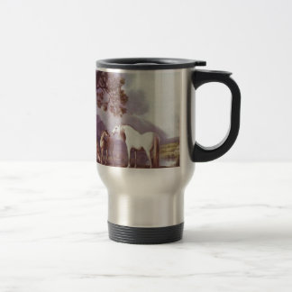 Mares and Foals in a Mountainous Landscape Travel Mug
