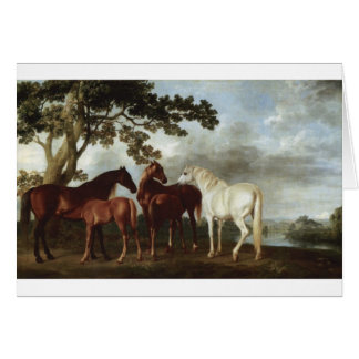 Mares and Foals in a River Landscape George Stubbs Greeting Card