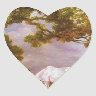 Mares and Foals in a Wooded Landscape by George Heart Sticker