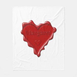 Margaret. Red heart wax seal with name Margaret Fleece Blanket