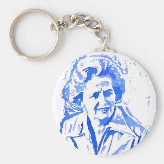 Margaret Thatcher Pop Art Portrait Basic Round Button Key Ring