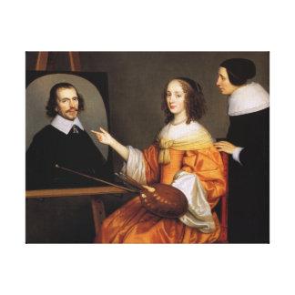 Margareta Maria de Roodere and Her Parents Canvas Print
