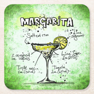 Margarita Drink Recipe Square Paper Coaster