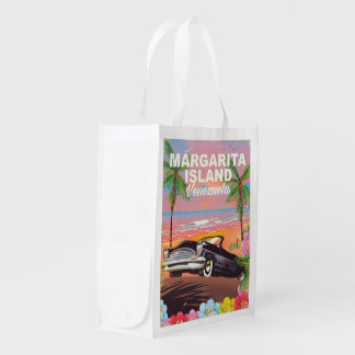 Margarita Island - Venezuela travel poster Reusable Grocery Bag