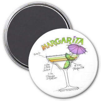 MARGARITA RECIPE COCKTAIL ART 7.5 CM ROUND MAGNET