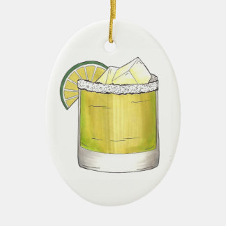 Margarita Summer Cocktail Mixed Drink Lime Green Ceramic Ornament