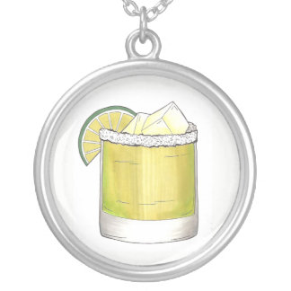Margarita Summer Cocktail Mixed Drink Lime Green Silver Plated Necklace