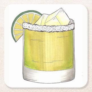 Margarita Summer Cocktail Mixed Drink Lime Green Square Paper Coaster