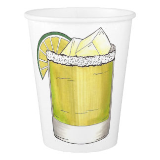 Margarita Summer Cocktail Mixed Drink Lime Print Paper Cup