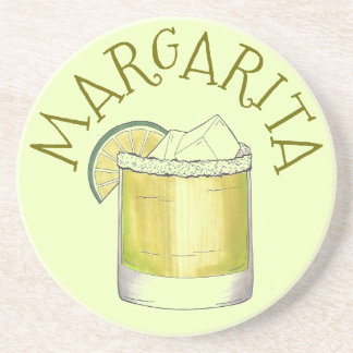 Margarita Tequila Cocktail Mixed Drink Lime Green Coaster