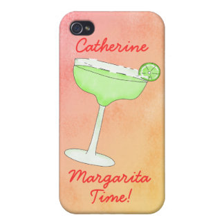 "Margarita Time"" and Name Peach Yellow Background iPhone 4/4S Case"