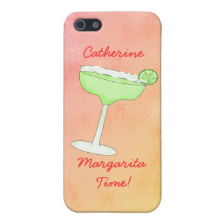 "Margarita Time"" and Name Peach Yellow Background iPhone 5 Cases"