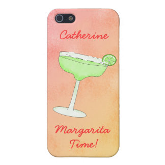 "Margarita Time"" and Name Peach Yellow Background iPhone 5 Covers"