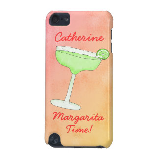 "Margarita Time"" and Name Peach Yellow Background iPod Touch (5th Generation) Cases"