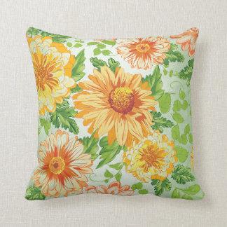 Margerite Sunflower Yellow Mint Spring Garden Throw Pillow
